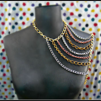 multicolor body chain harness statement necklace by alapopjewelry