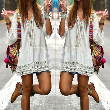 Bohemian Style Women Summer White Dress Sexy Casual V Neck 3/4 Flare Sleeve Lace Crochet Loose Mini Beach Dresses Vestidos