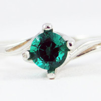 Twisted Emerald Sterling Silver Ring