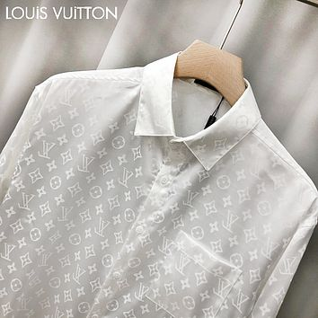 LV Louis vuitton hot seller of patterned jacquard satin long-sleeved shirts for couples