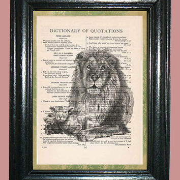 Lamb Laying with the King of the Beast Lion Dictionary Book Page Art Print Beautiful Upcycled Page Art Collage Art Print Home Decor