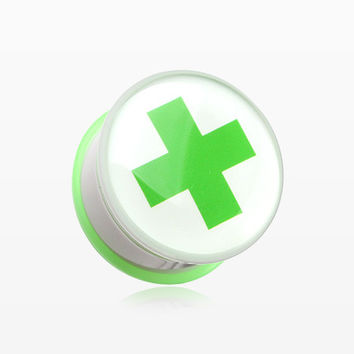 A Pair of Green Cross Toxic Emergency Single Flared Plug