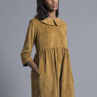 Mustard Corduroy Smock Dress