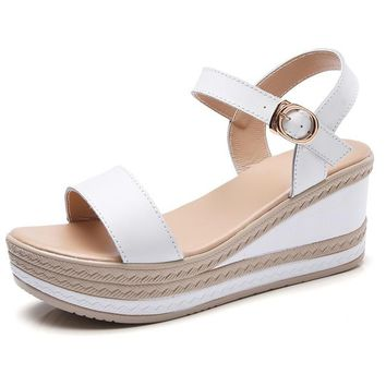 Ladies Ankle Strap Flatform Wedge Sandals