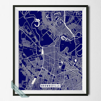 Brownsville Print, Texas Poster, Brownsville Street Map, Texas Print, Cameron County, Street Map, Home Decor, Wall Art, Back To School