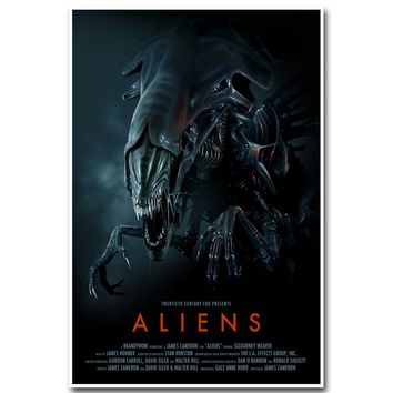 Alien Art Silk Poster Print 13x20 24x36inch Classic Science Fiction Movie Picture for Living Room Wall Decoration 002