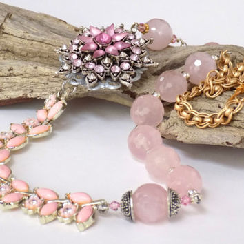 Rose Quartz Necklace for Women, Gemstone Necklace, Pink Statement Necklace, Assemblage Jewelry, Wedding Jewelry for Brides, Prom Necklace