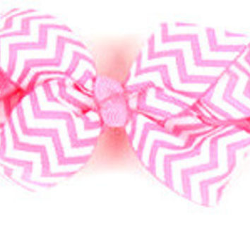 Chevron Pink Hair Bow for Girls