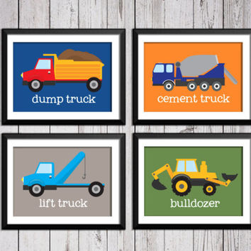 Trucks, transportation, boy art prints, construction decor, construction art, baby nursery decor, kids wall art, nursery print, trucks art