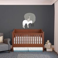 Mom Sheep and Baby Lamb Cuddle - Vinyl Wall Art Decal for Homes, Offices, Kids Rooms, Nurseries, Schools, High Schools, Colleges, Universities