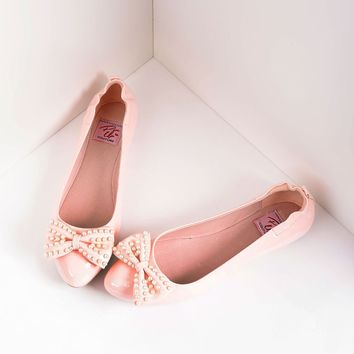 Retro Style Baby Pink Patent Leather Pearl Bow Ballet Flats