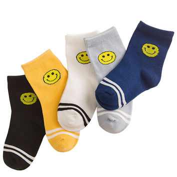 5 Pair/lot 7 Kinds Style Soft Cotton Boys Girls Socks Cute Cartoon Pattern Kids Socks For Baby Boy Girl Suitable For 1-10Y
