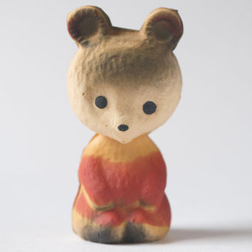 Soft toy bear Soviet toy small baby bear rubber toy vintage sandy red forest animal