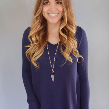 Crochet Knit Top Navy