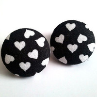 Black with white hearts button earrings