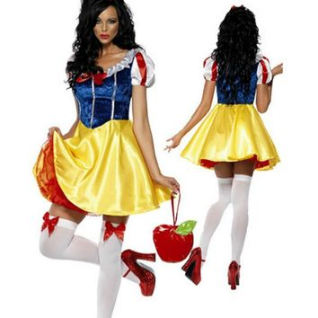 2017 New For Purim Adult Snow White Costume Carnival Halloween Costumes For Women Fairy Tale Cosplay Female Fancy Dress
