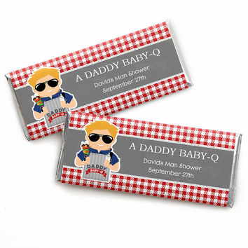 Daddy BABY-Q - Caucasian Blond - Personalized Man Shower Candy Bar Wrapper Favors