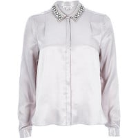 River Island Womens Silver sateen embellished collar blouse