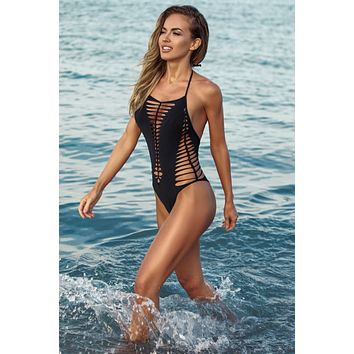 Jolidon Clandestine Black Selena Shredded Cut-Out Cheeky One Piece Swimwear Swimsuit