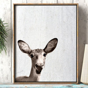 DEER PHOTO PORTRAIT Printable Neutral Nursery Wall Decor Nature Wall Art Children Printable Poster Baby Animal Home Decor Aquatic Deer Print