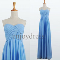 Custom Blue Pleated Long Prom Dresses Cheap Evening Gowns Wedding Part Dresses Simple Party Dress Bridesmaid Dresses 2014 Evening Dresses