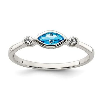 Sterling Silver Bezel Set Marquise Blue Topaz And White Topaz Ring