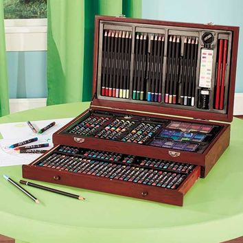 Art Set 142 Piece Pastels Watercolors Pencils Wooden Storage Case Draw Sketch