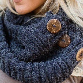Knit Button Accent Infinity Scarf - Navy