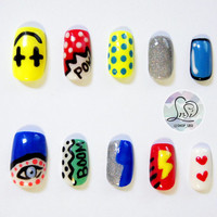 Pop Art Nails, Hand Painted False Gel Nails, Fake Nail Set, Artificial Nails
