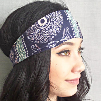 Printed Headwrap, Bohemian Hair Accessories, Yoga Headband ,Hippie Headband, Blue and REd