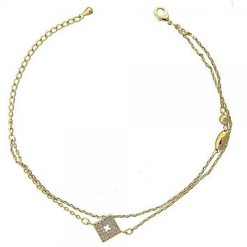 Gold Layered 03.100.0001 Fancy Bracelet, with  Micro Pave, Golden Tone
