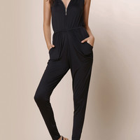 Black V-Neck Zippered Sleeveless Pleated Jumpsuit
