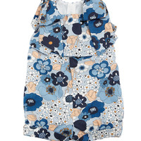 Chloe Allover Flower-Print Playsuit w/ Bow Shoulders, Size 2-3 and Matching Items