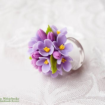 "Ring ""Lilac"" - Polymer Clay Flowers"