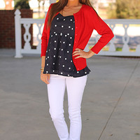 Lots Of Dots Top, Navy
