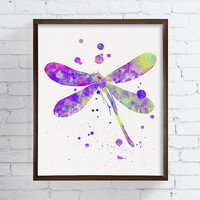 Dragonfly Art Print, Watercolor Dragonfly, Dragonfly Painting, Dragonfly Poster, Girls Room Decor, Nursery Wall Art, Baby Girl Nursery