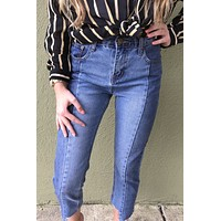Two Toned Denim Cropped Jeans