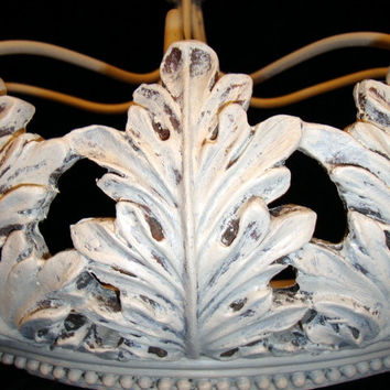 Large Shabby Acanthus Leaf Bed Crown Antique White Chalk Paint