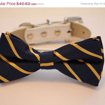 Navy Gold Dog Bow tie with High Quality White Leather Collar, Chic Dog Bow tie, Wedding Dog Accessories