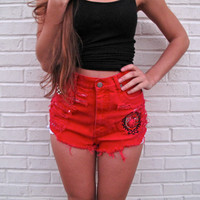 High Waist Shorts / Destroyed, Studded & Embroidered / Red