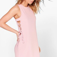 Ginanna Lace Up Textured Shift Dress