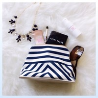 White & Navy Blue Chevron makeup bag