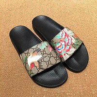 GUCCI Woman Men Floral Birdie Print Sandal Slipper Shoes
