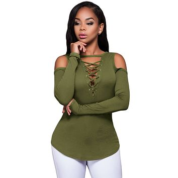 Army Green Long Sleeve Cut-out Shoulder Ribbed Top