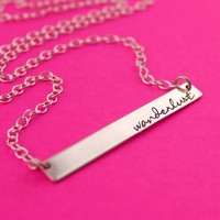 Sterling Silver Bar Necklace - Hand Stamped Custom Necklace - Personalized