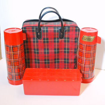 Vintage Picnic Set with Tartan Plaid Bag and Aladdin Thermos Bottles