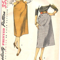 Simplicity 3983 Sewing Pattern Vintage Style Slim Fit Straight Skirt Casual Business Day Scoop Hip Pockets One Yard Waist 26
