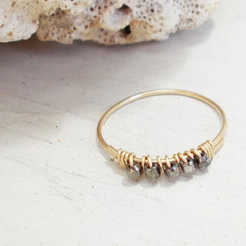 Gold fill thin stacking ring, 14K, cold forged artisan jewelry, hammered, wire wrapped, raw diamond cut, dainty pyrite beads, made to order