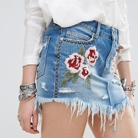 Free People Wild Rose Embroidered Mini Denim Skirt at asos.com