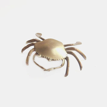 Vintage Brass Crab Ashtray Figurine / Trinket Box